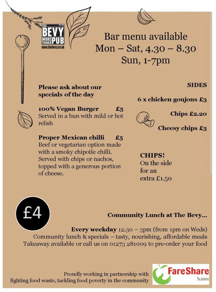 Bevy Brighton bar menu