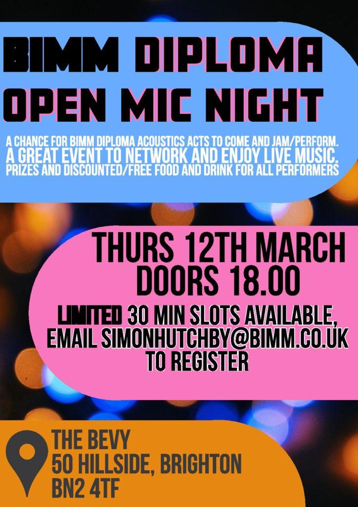 BIMM Open Mic Night Brighton Bevy
