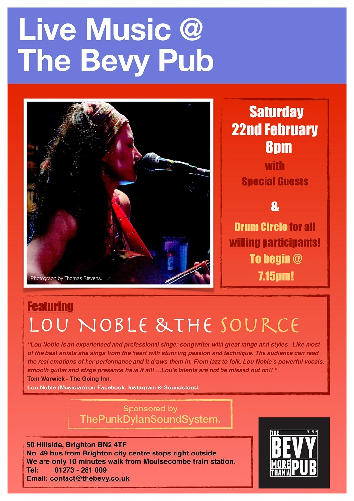 Live music Brighton Lou Noble at The Bevy