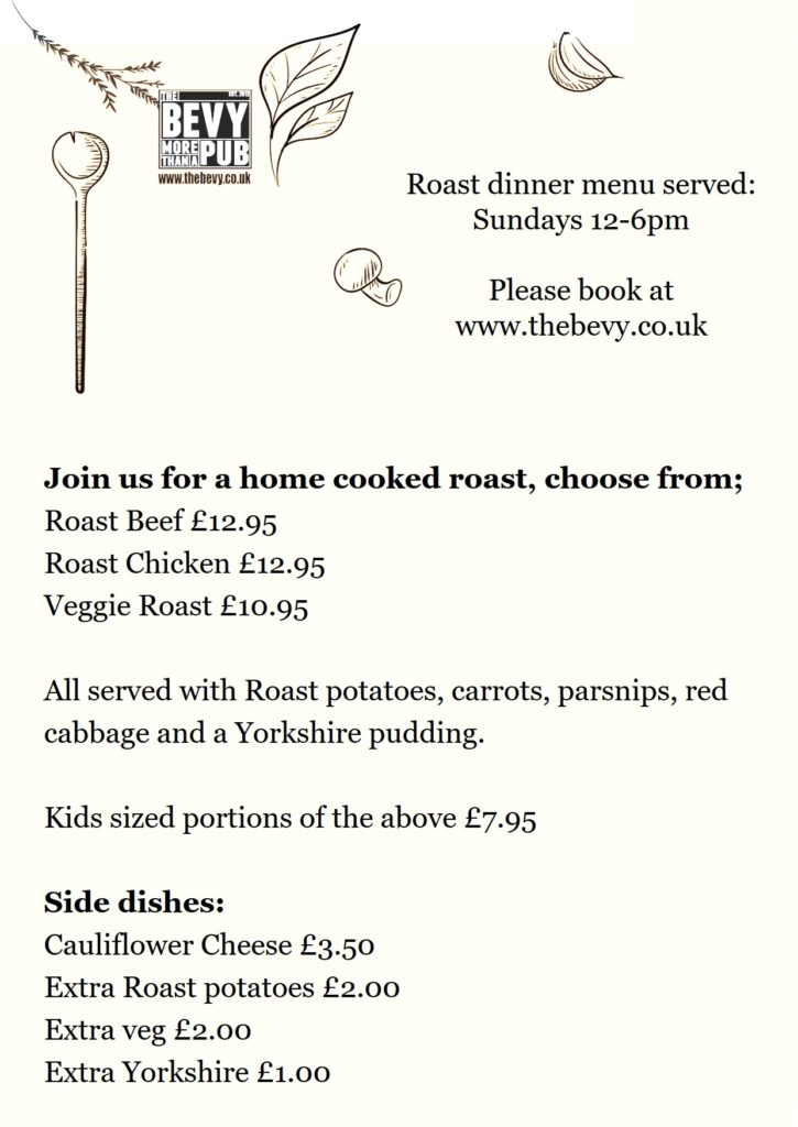 Bevy Brighton Sunday lunch menu
