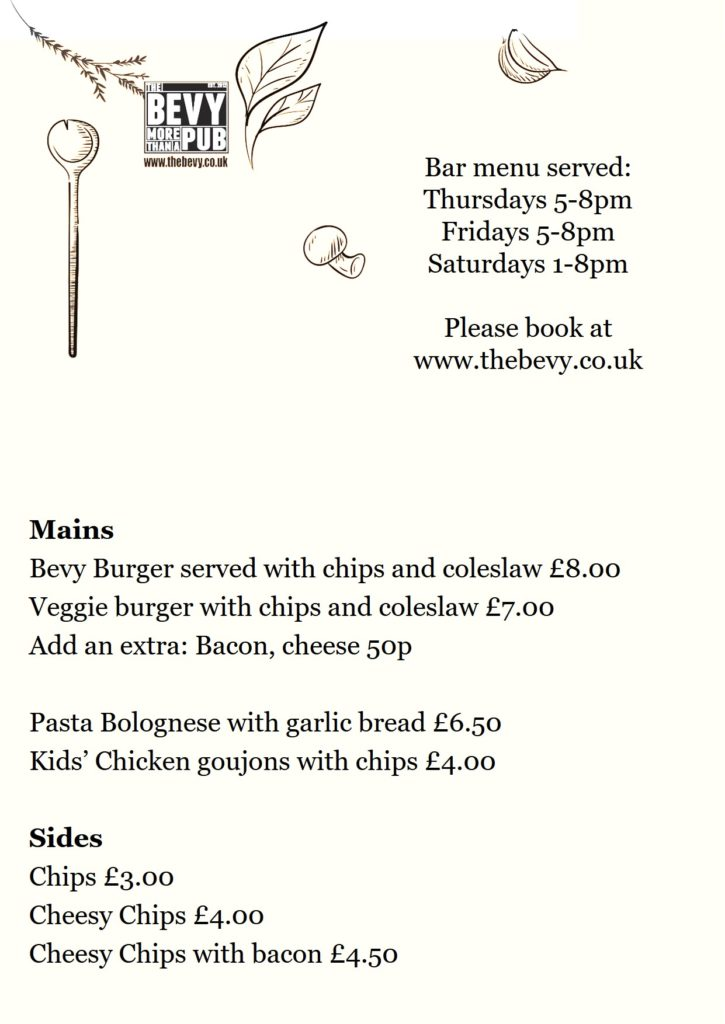 Bevy Brighton Bar menu